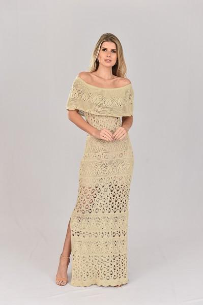 Vestido de Tricot Ciganinha Longo Areia