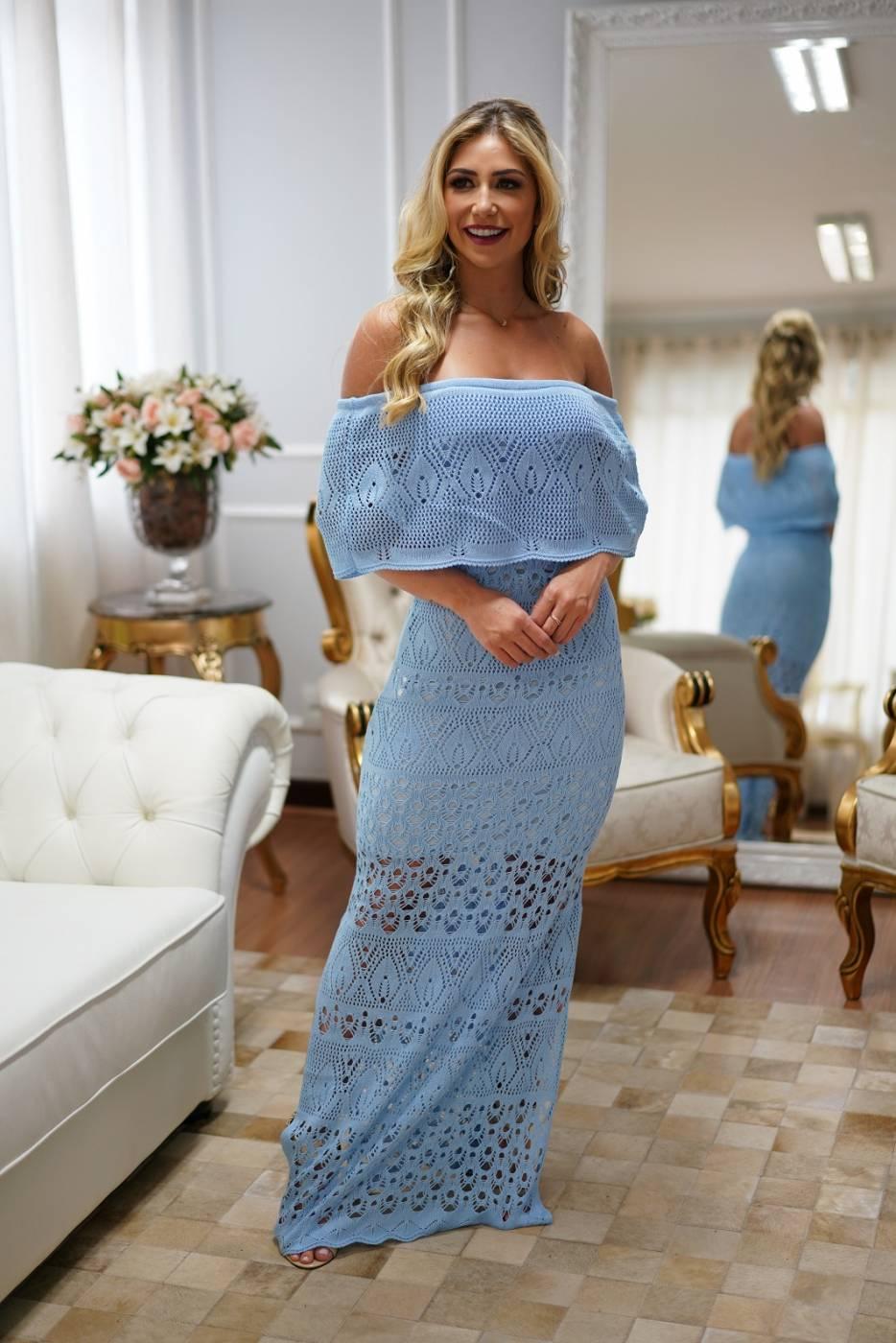 Vestido de Tricot Ciganinha Longo Azul