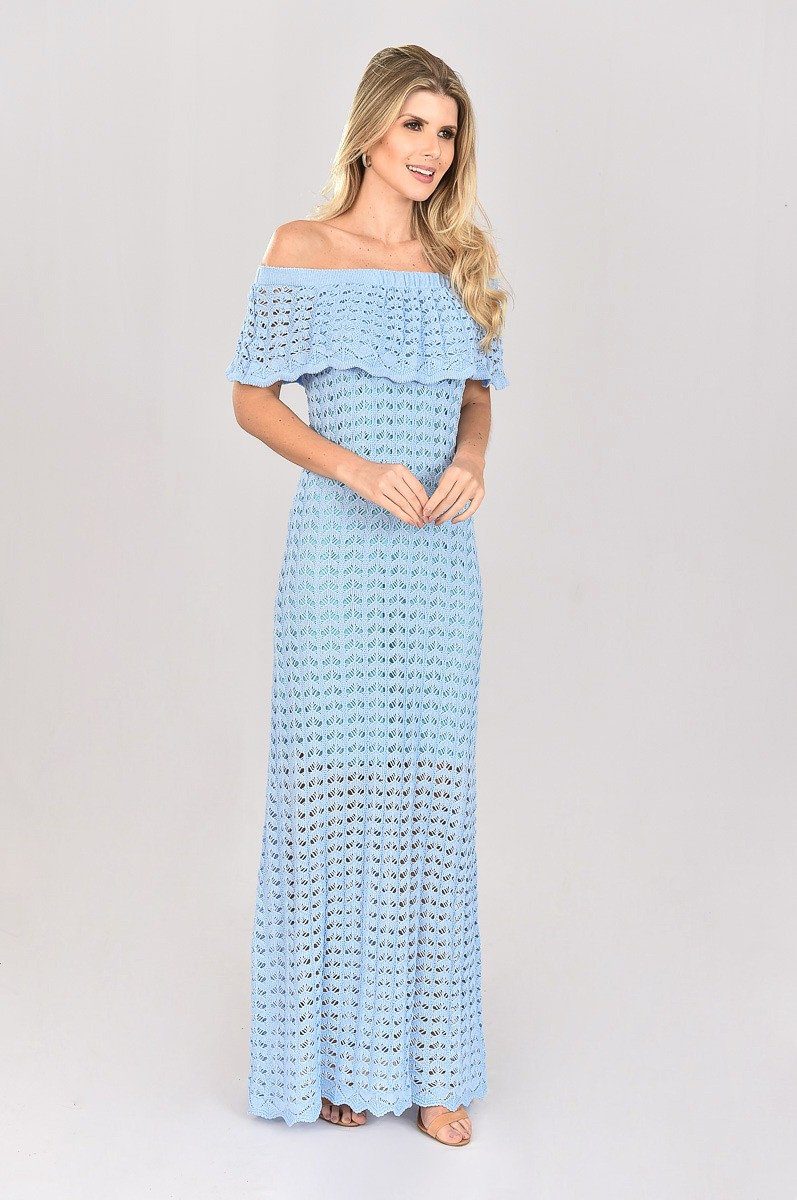 Vestido de Tricot Ciganinha Longo Azul Escamas Plus Size