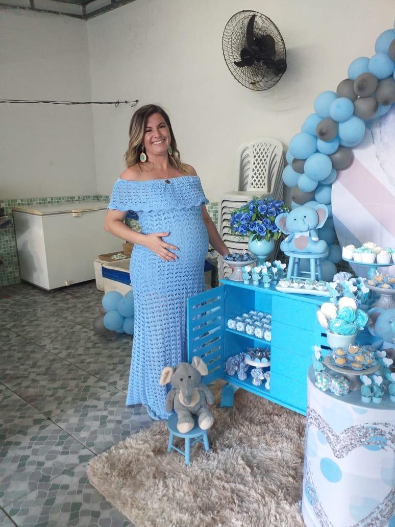 Vestido de Tricot Ciganinha Longo Azul Gestante