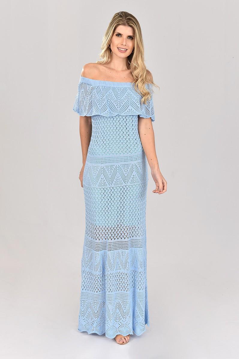 Vestido de Tricot Ciganinha Longo Azul Plus Size sem  Fenda