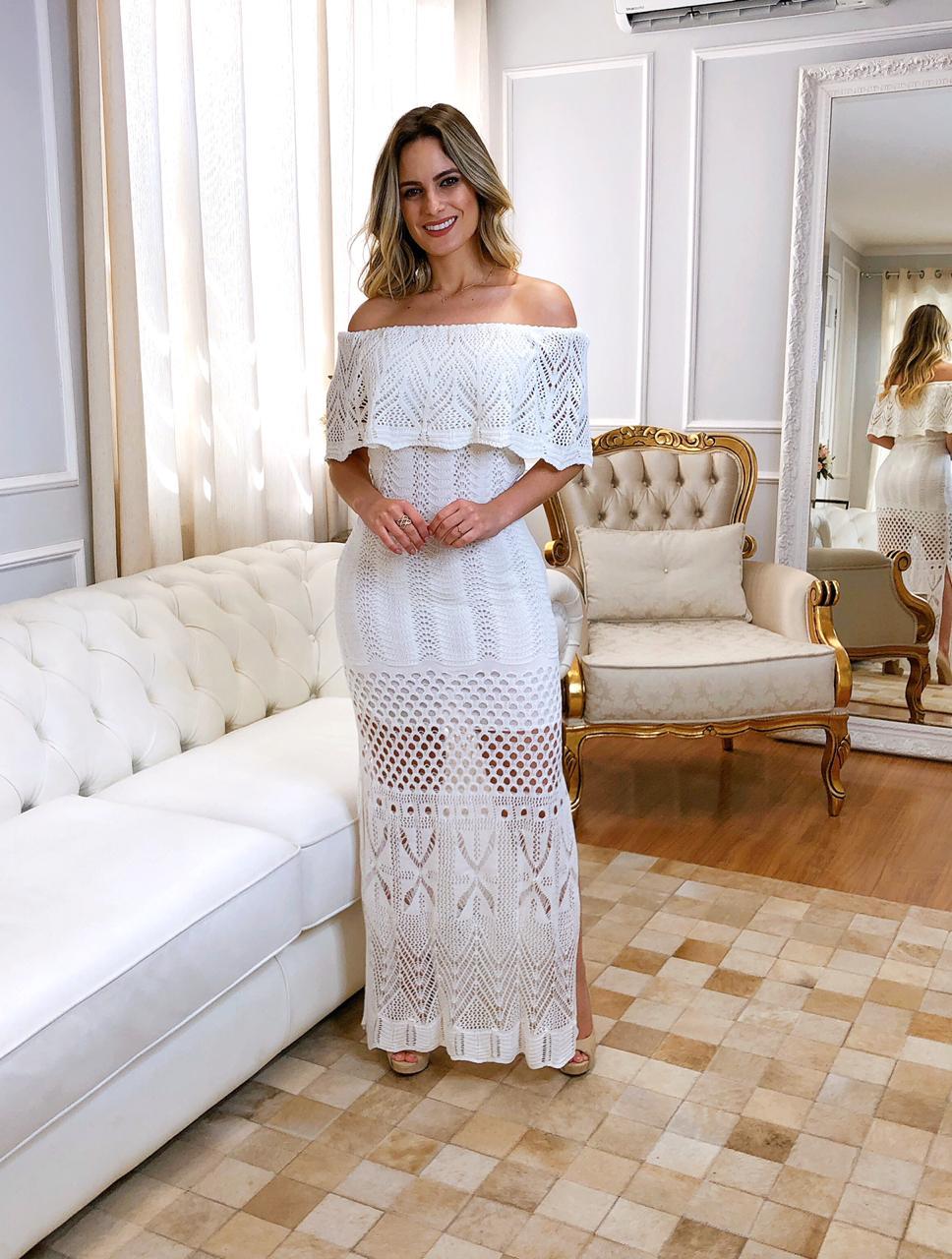 Vestido de Tricot Ciganinha Longo Branco