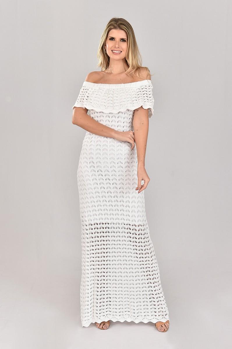 Vestido de Tricot Ciganinha Longo Branco Escamas Plus Size