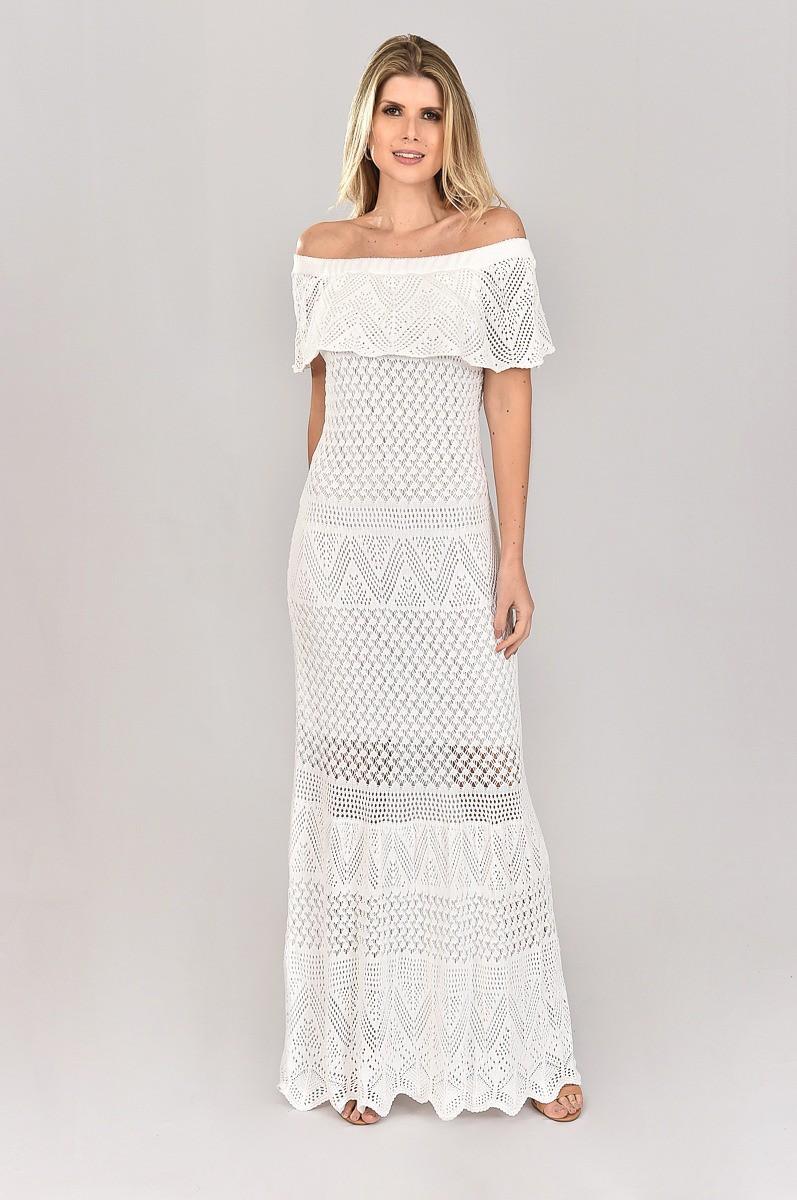 Vestido de Tricot Ciganinha Longo Branco Plus Size sem Fenda