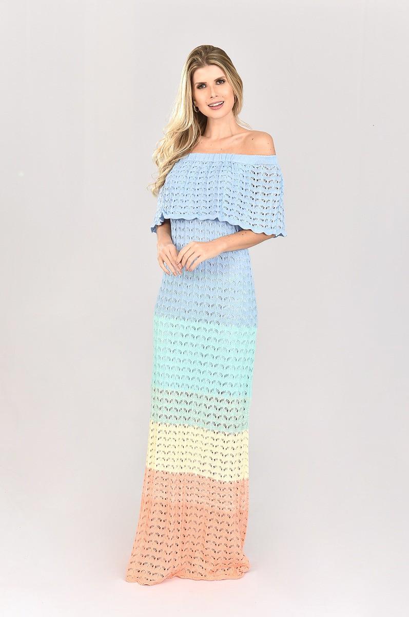 Vestido de Tricot Ciganinha Longo Degrade Azul