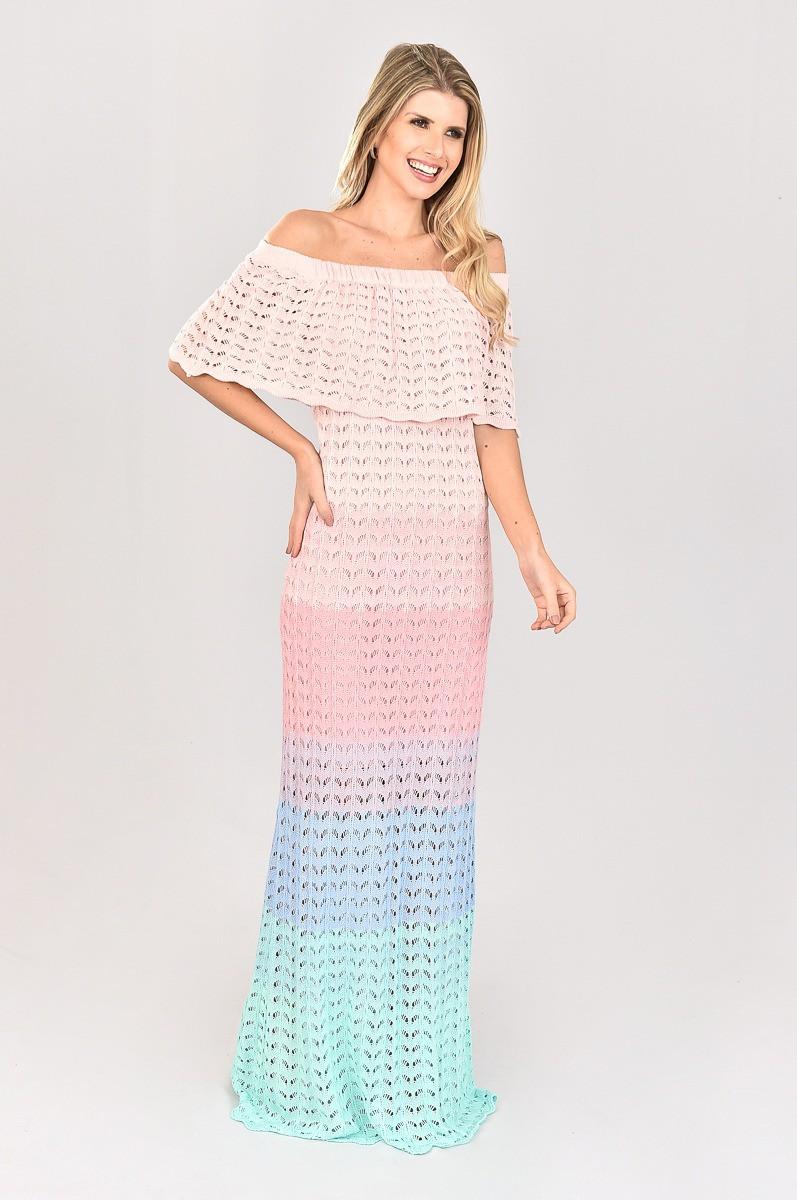 Vestido de Tricot Ciganinha Longo Degrade Rosa