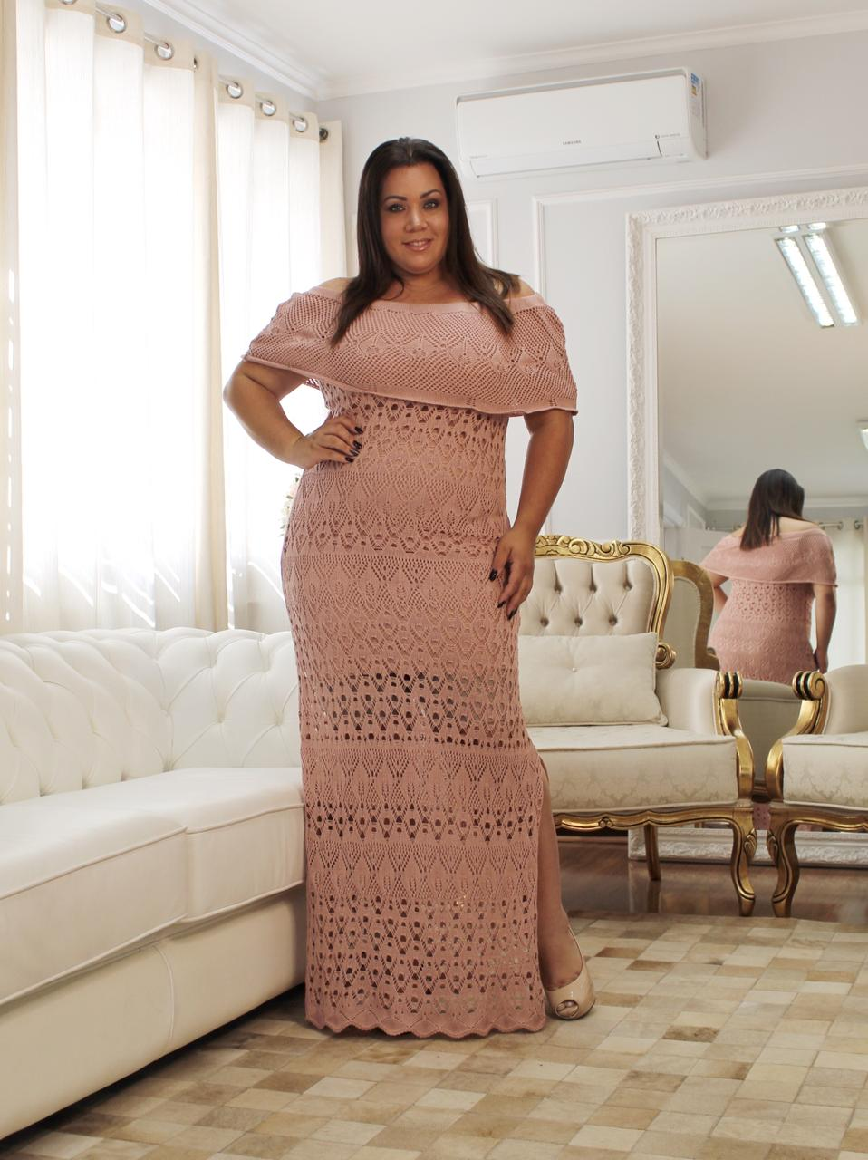 Vestido de Tricot Ciganinha Longo Plus Size Rosê