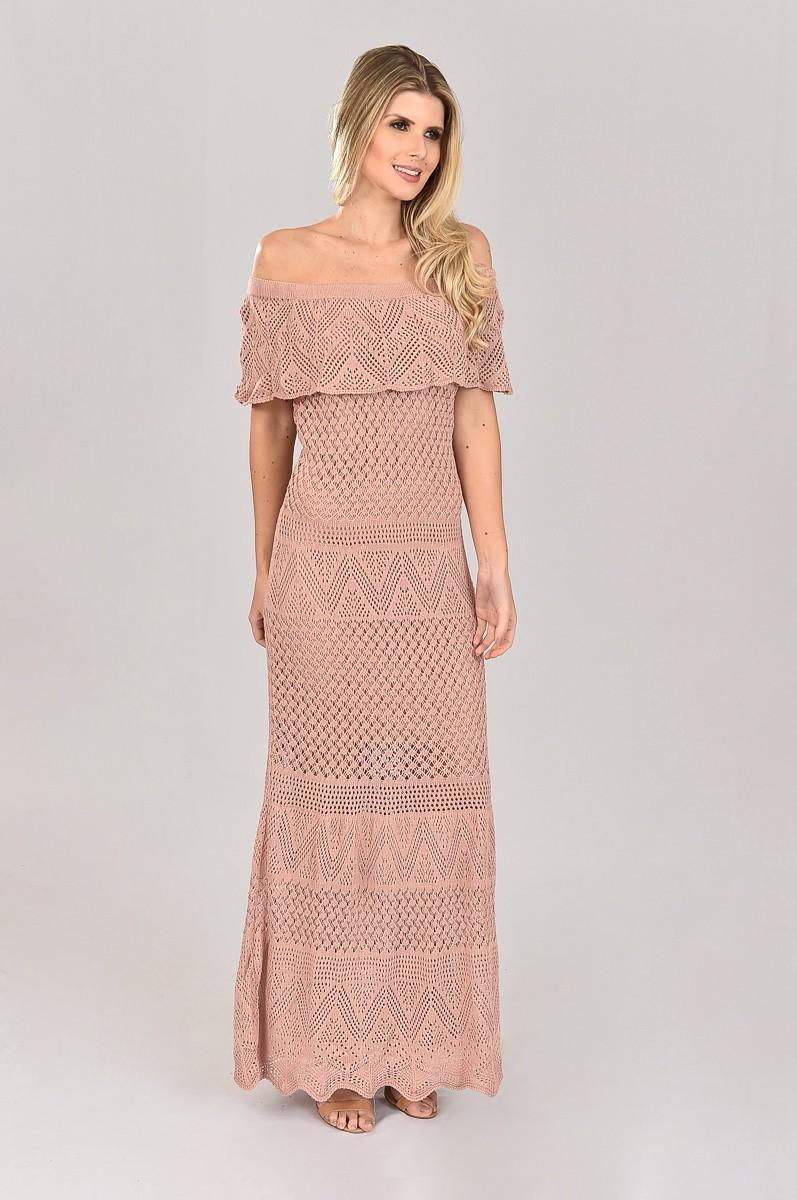 Vestido de Tricot Ciganinha Longo Rosê Plus Size sem Fenda