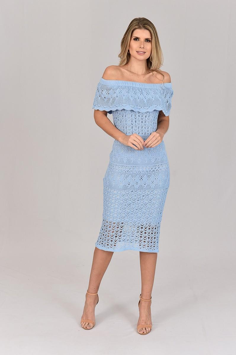 Vestido de Tricot Ciganinha Midi Azul