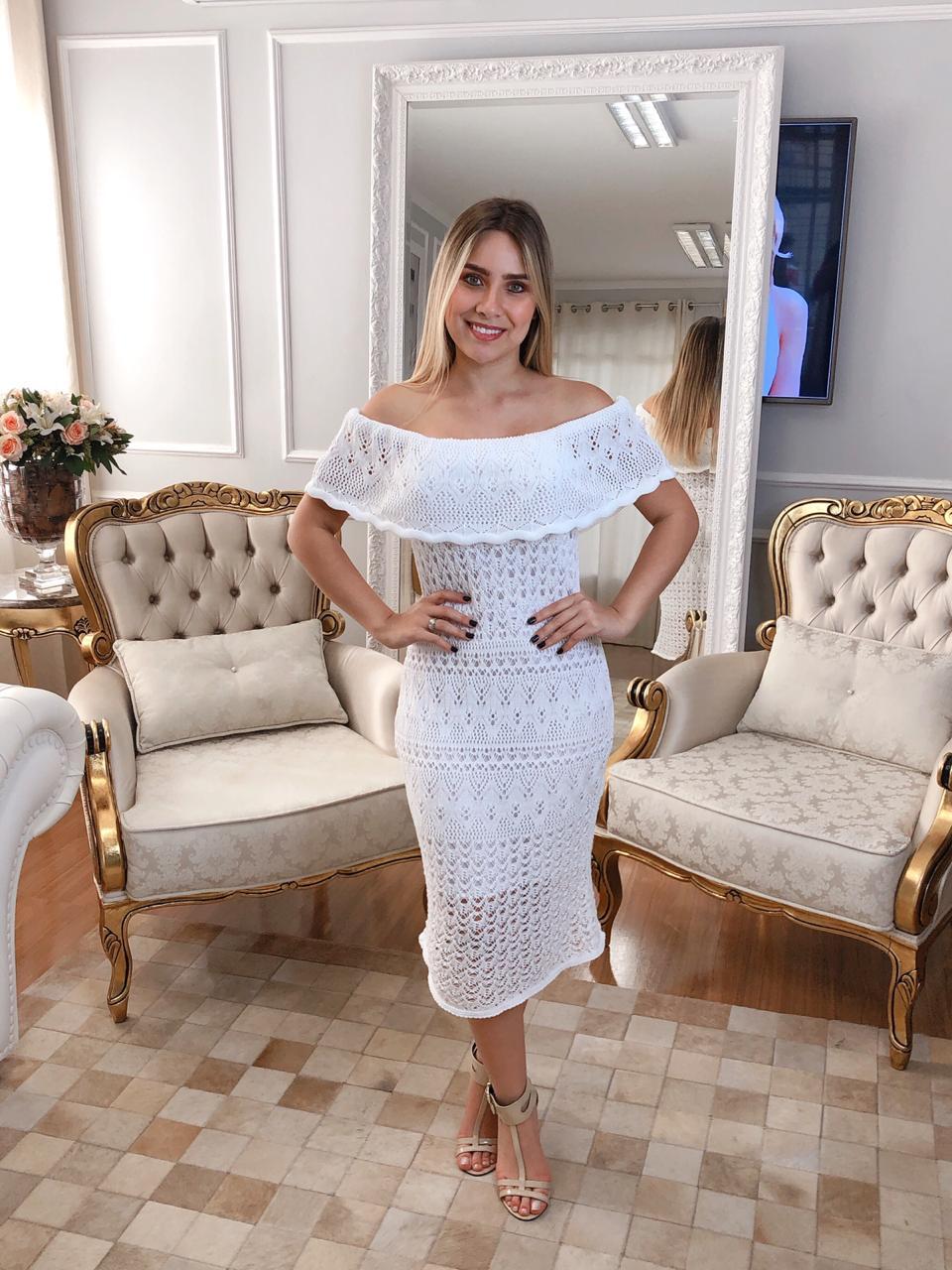 Vestido de Tricot Ciganinha Midi Branco