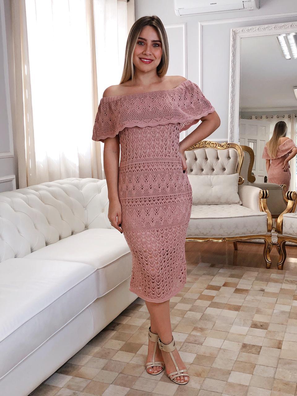 Vestido de Tricot Ciganinha Midi Rosê