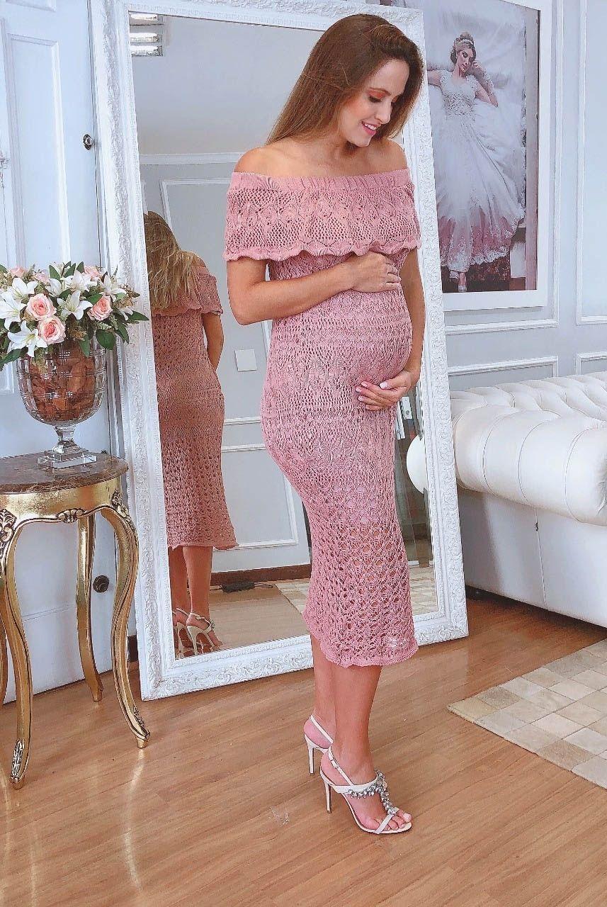 Vestido de Tricot Ciganinha Midi Rose Gestante