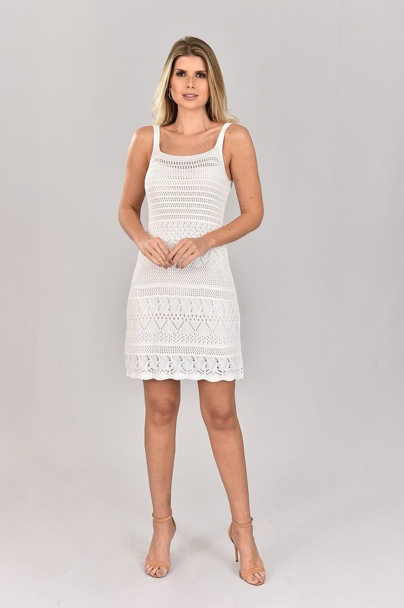 Vestido de Tricot Curto Branco com Alças