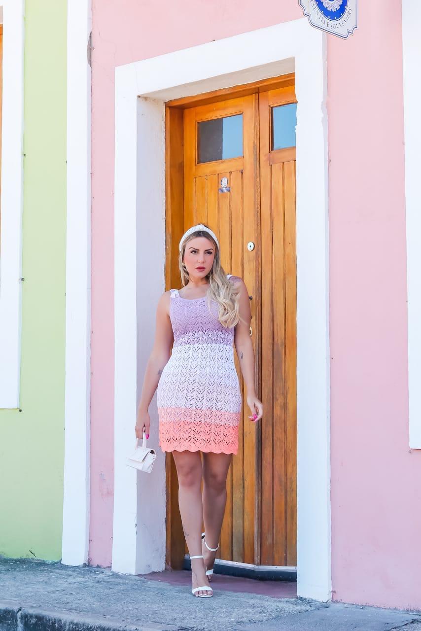 Vestido de Tricot Curto Candy Color Alças Trançadas