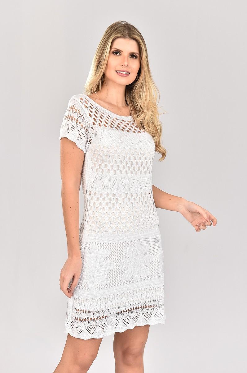 Vestido de Tricot Curto com Lurex