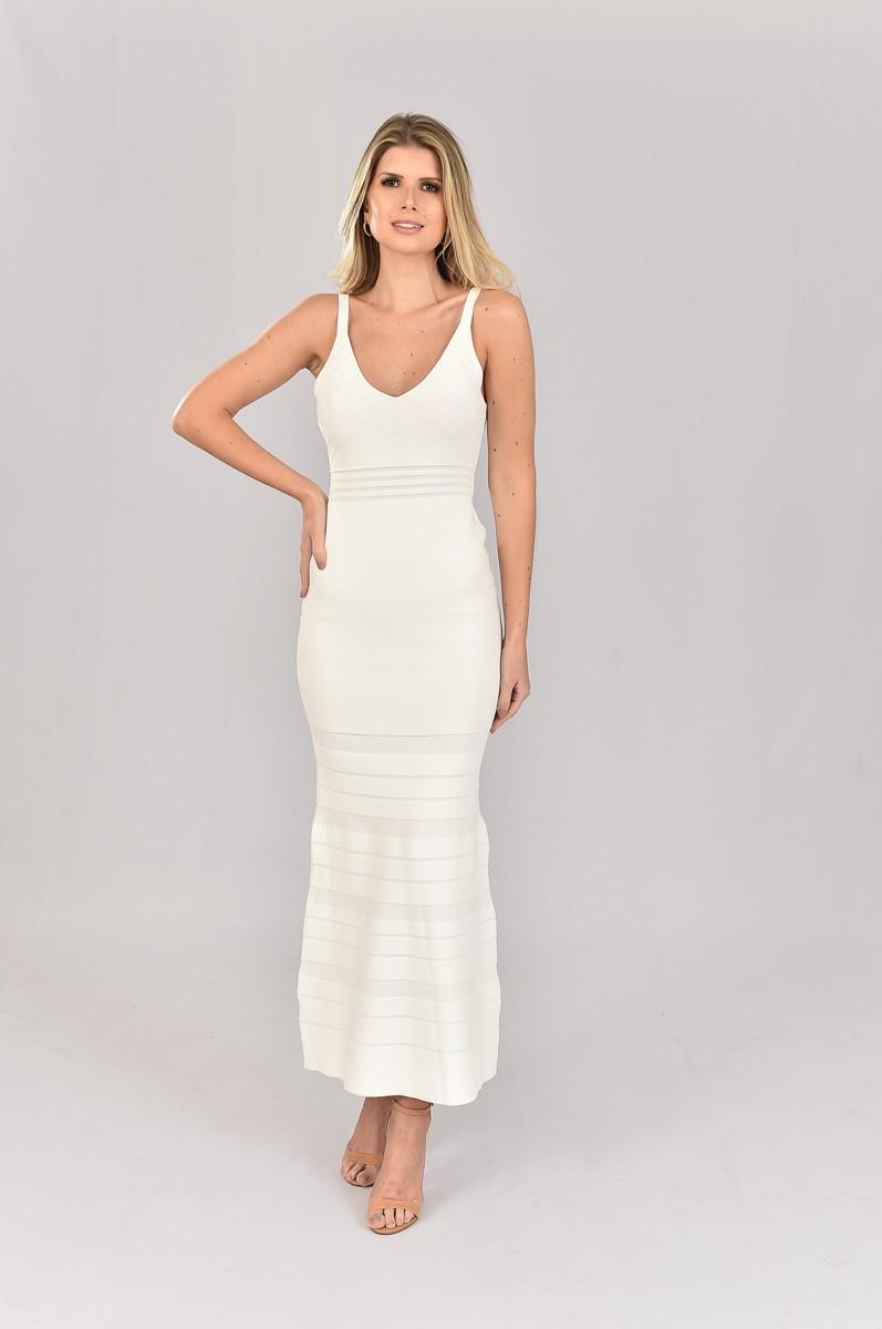 Vestido de Tricot Longo Branco