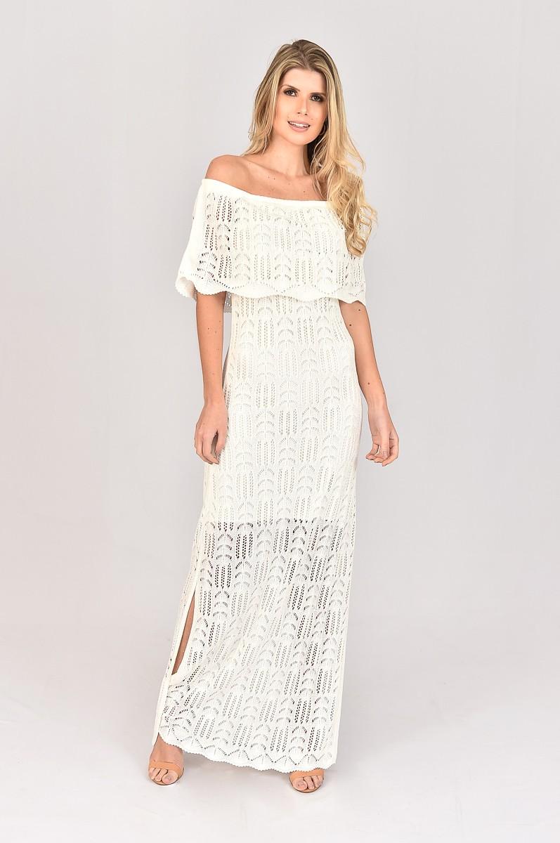 Vestido de Tricot Longo Ciganinha Branco