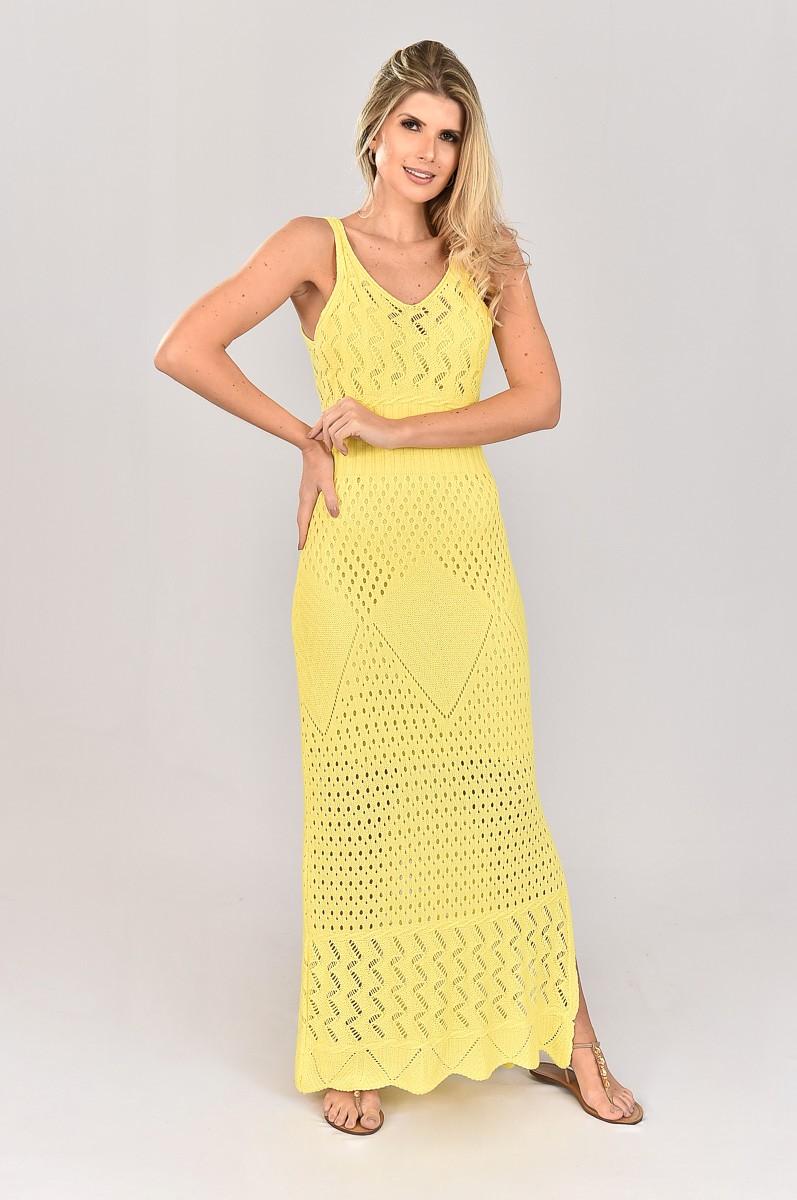 Vestido de Tricot Longo com Decote