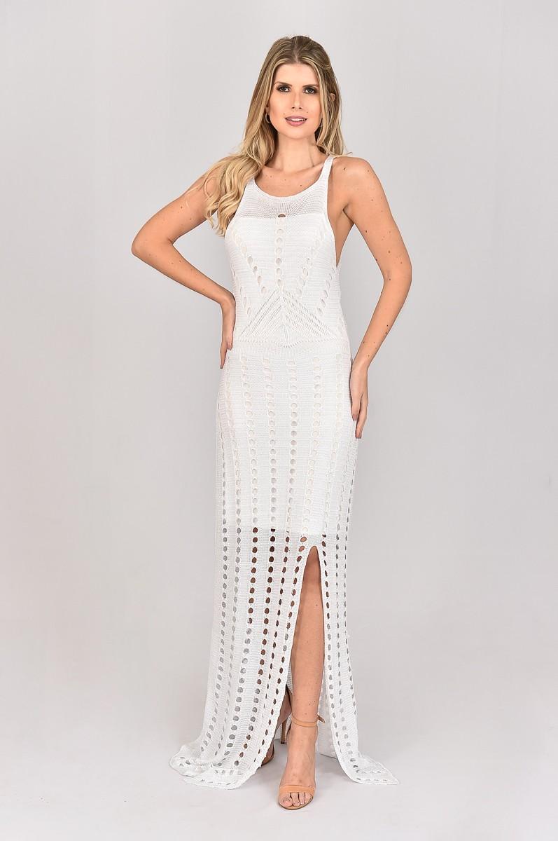 Vestido de Tricot Longo de Alças com Lurex
