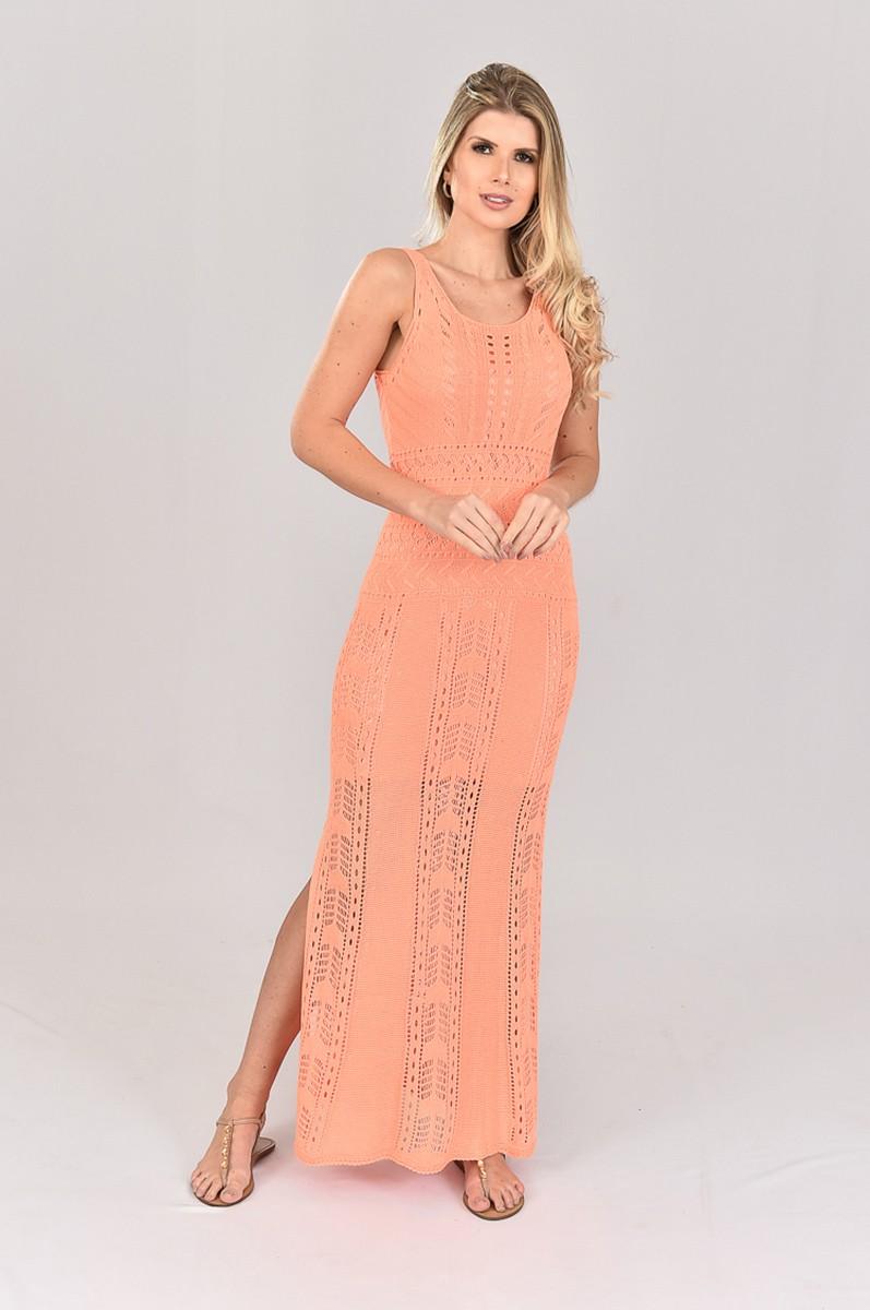 Vestido de Tricot Longo de Alças Coral