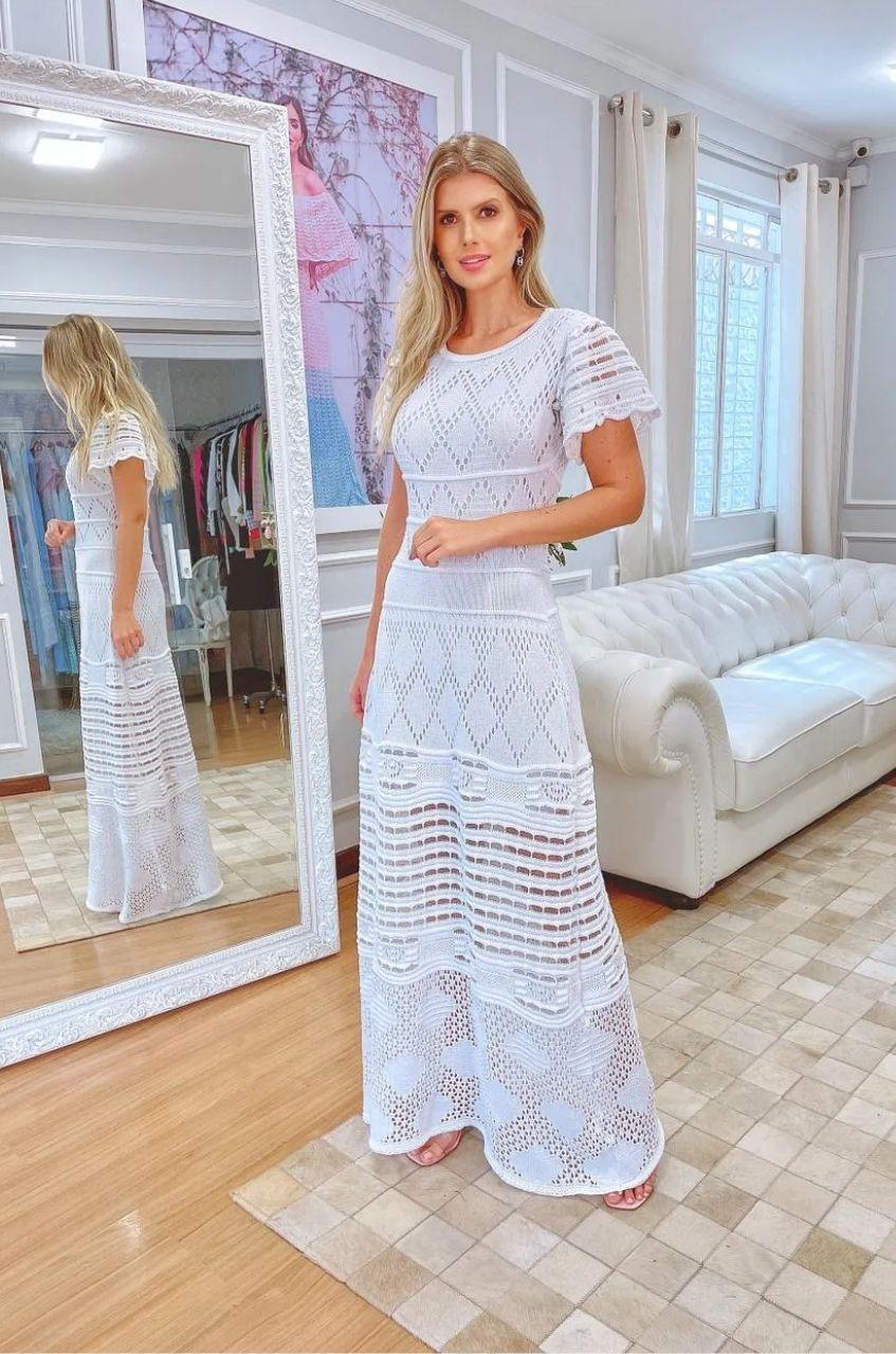 Vestido de Tricot Longo e  Manga Borboleta Branco