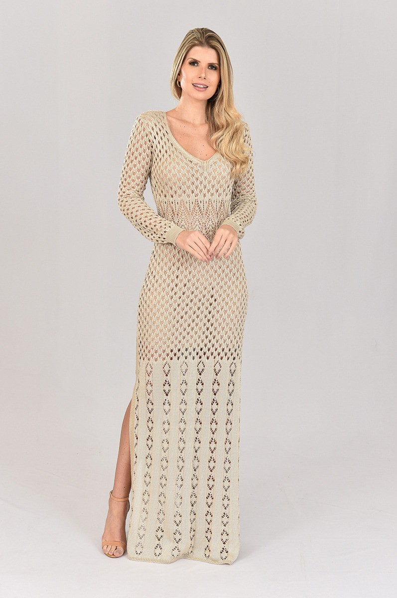 Vestido de Tricot Longo e  Manga Longa Areia