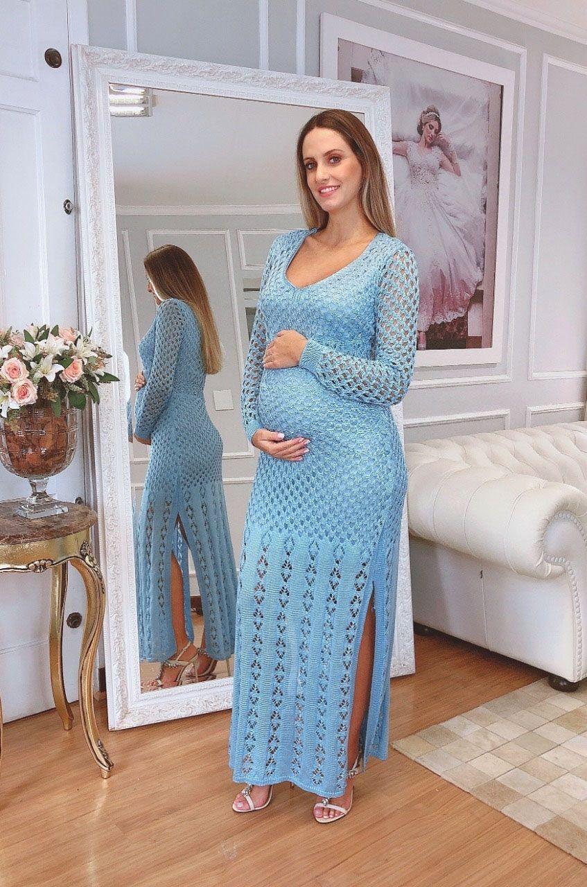 Vestido de Tricot Longo e  Manga Longa  Azul