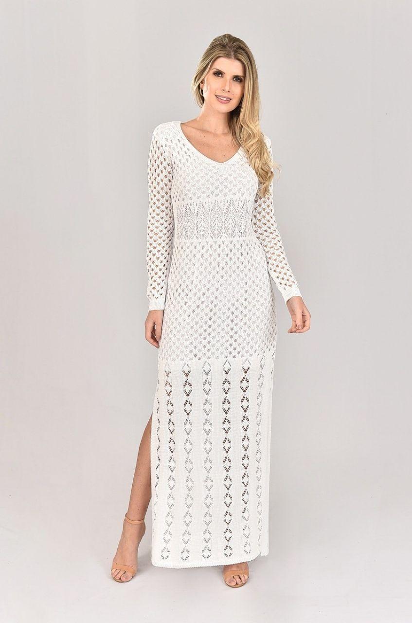 Vestido de Tricot Longo e  Manga Longa Branco