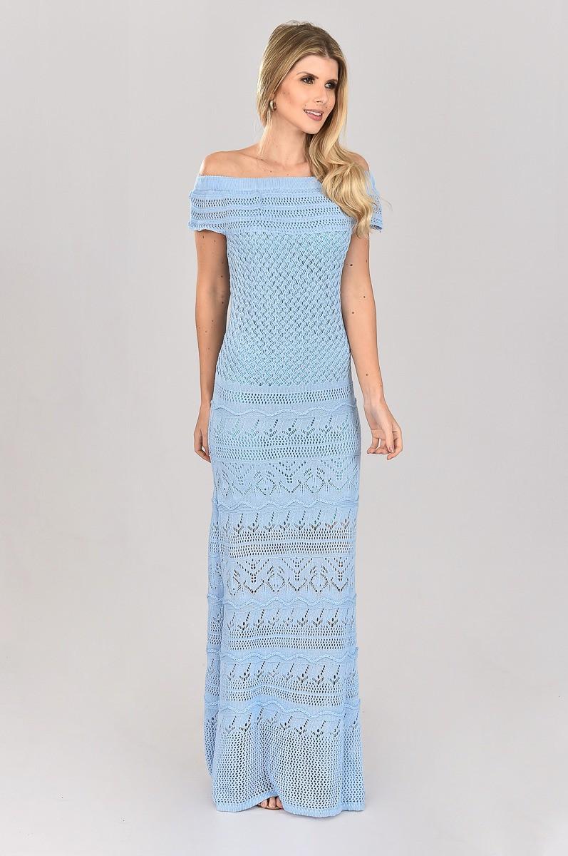 Vestido de Tricot Longo Ombro a Ombro Azul Plus Size