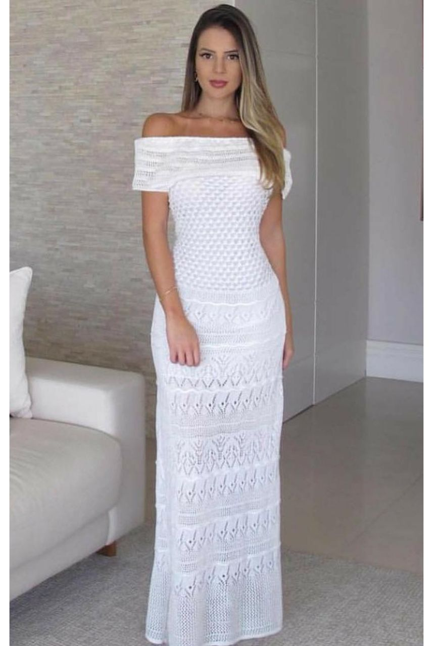 Vestido de Tricot Longo Ombro a Ombro Branco