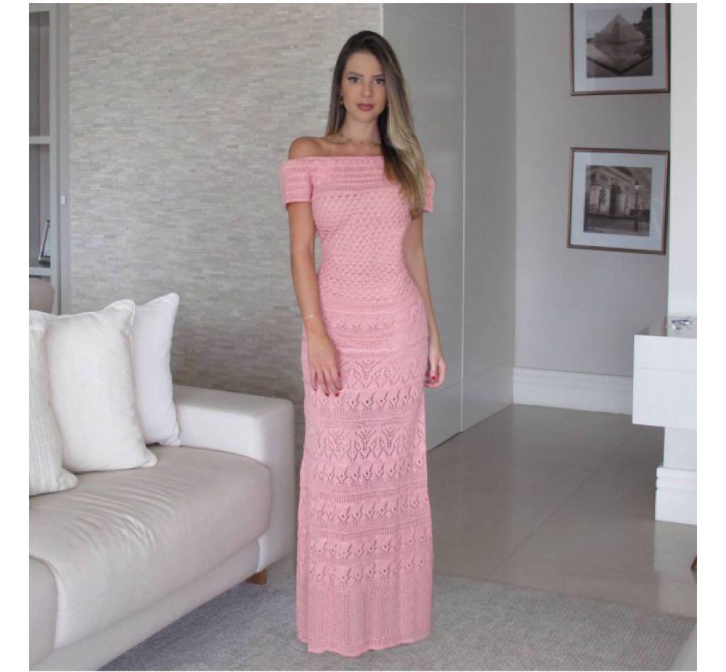 Vestido de Tricot Longo Ombro a Ombro Rosê