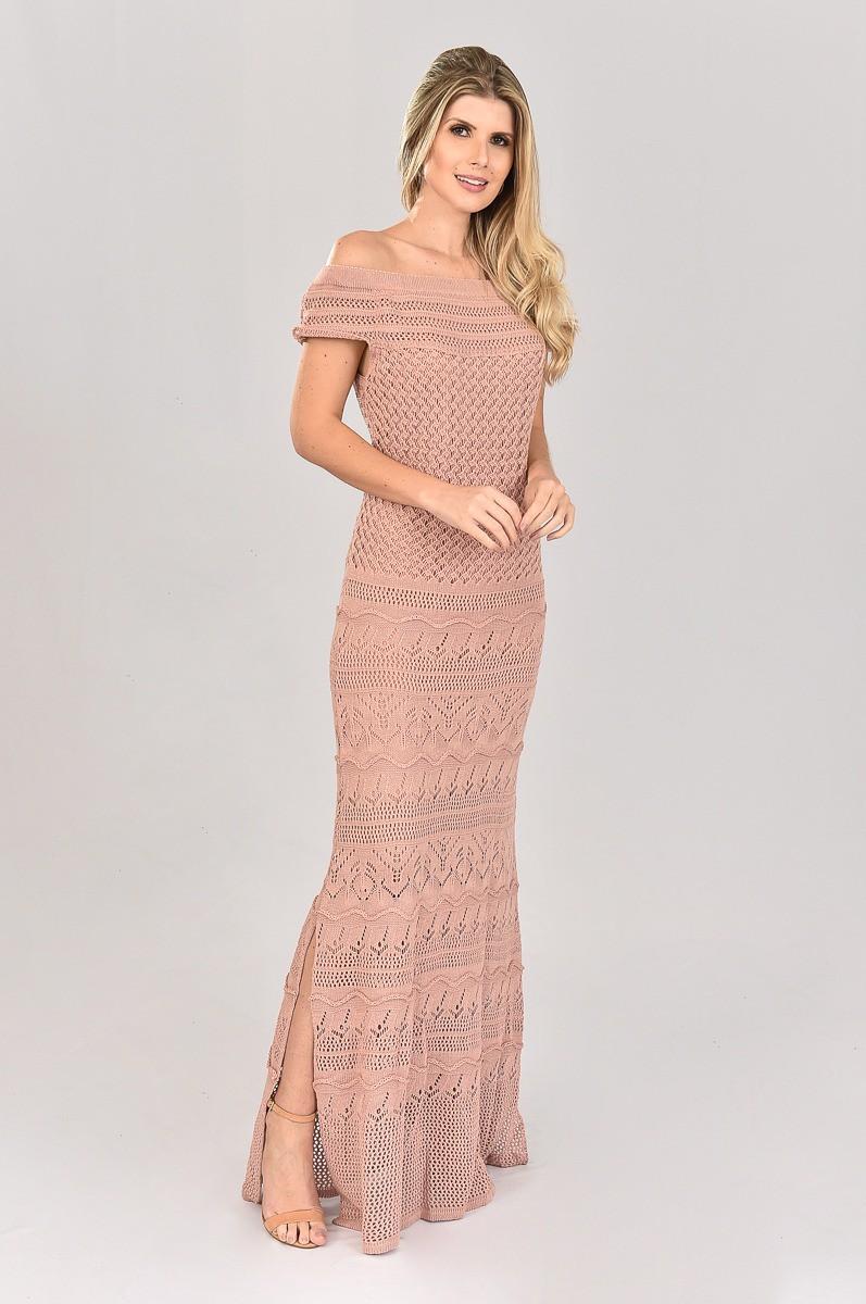 Vestido de Tricot Longo Ombro a Ombro Rose Plus Size