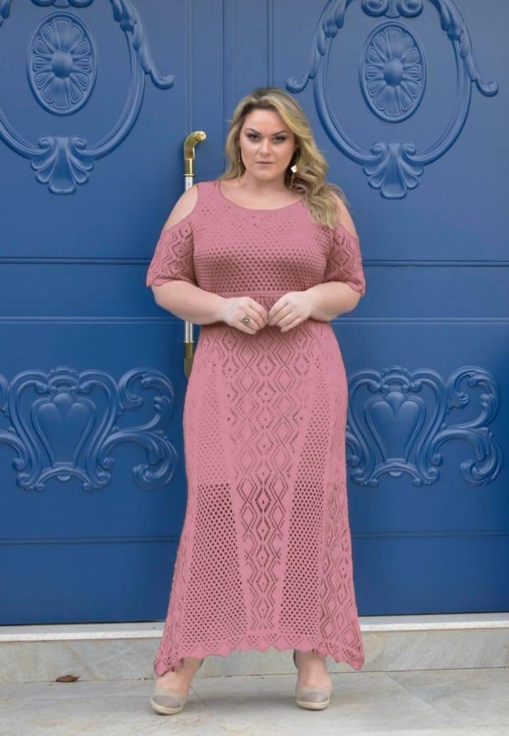 Vestido de Tricot Longo Plus Size
