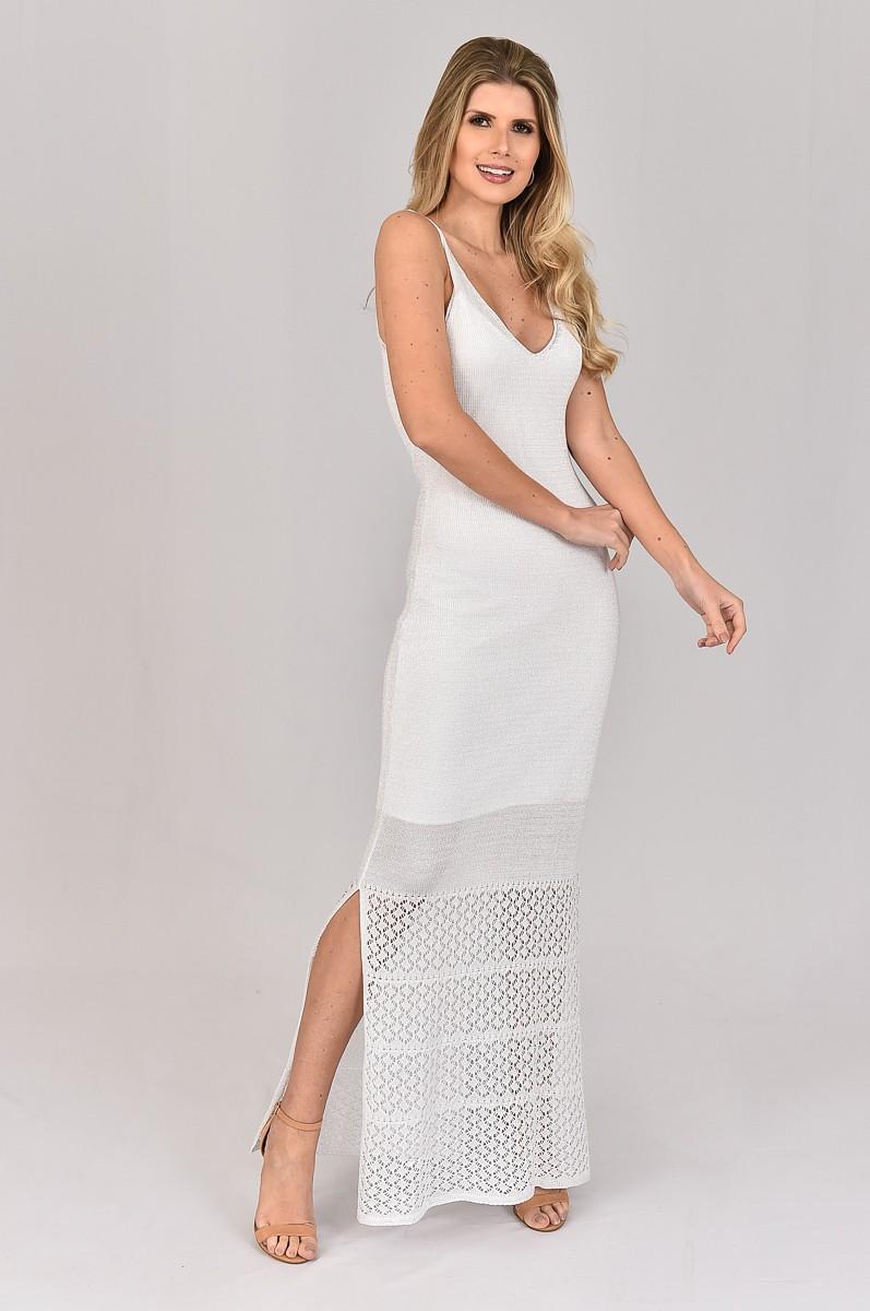 Vestido de Tricot Longo Decote com Lurex