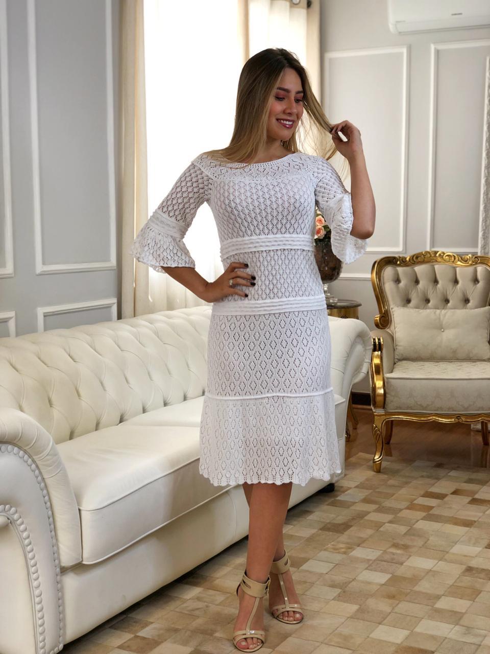 Vestido de Tricot Midi Branco