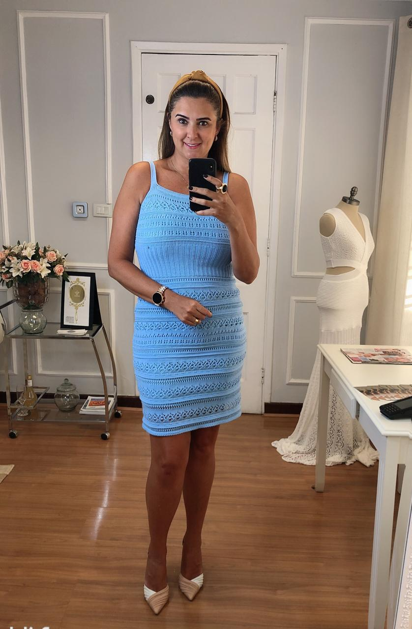Vestido de Tricot Midi de Alças Azul