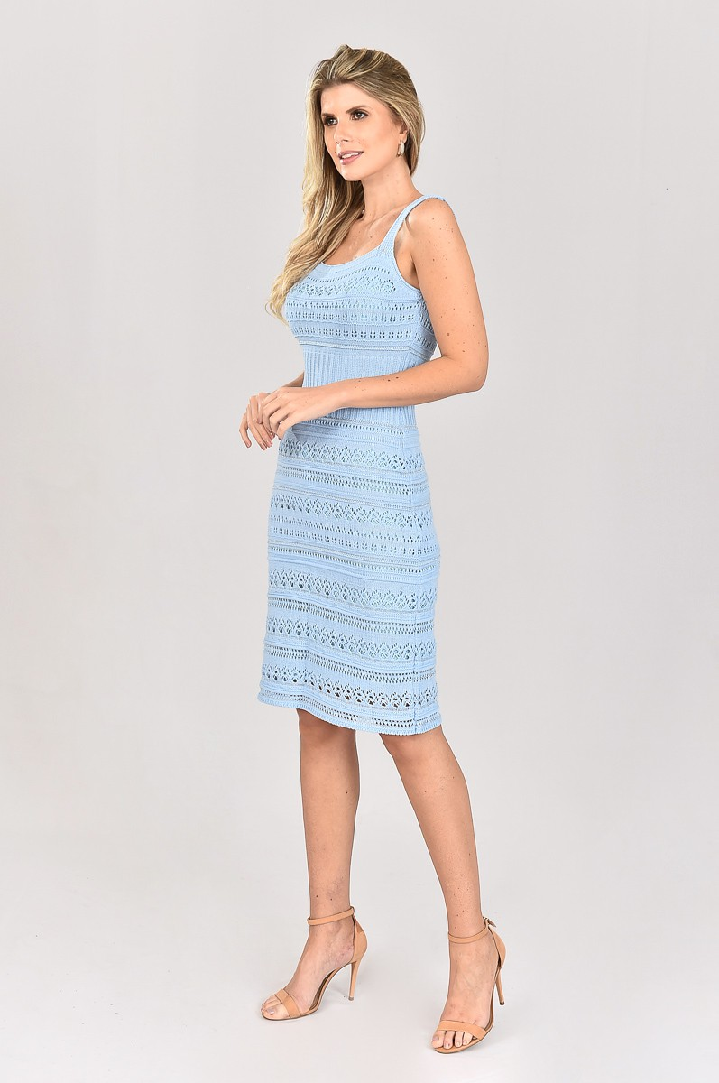 Vestido de Tricot Midi de Alças Azul Plus Size