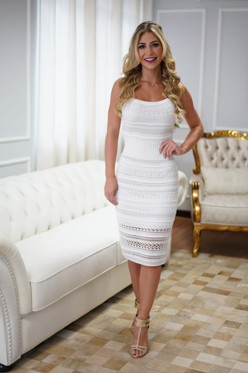 Vestido de Tricot Midi de Alças Branco
