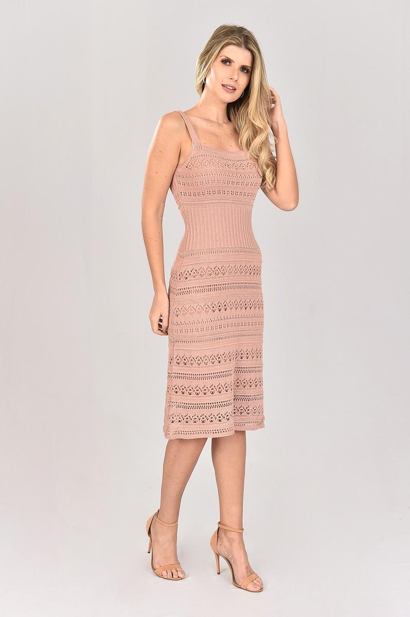 Vestido de Tricot Midi de Alças Rose Plus Size