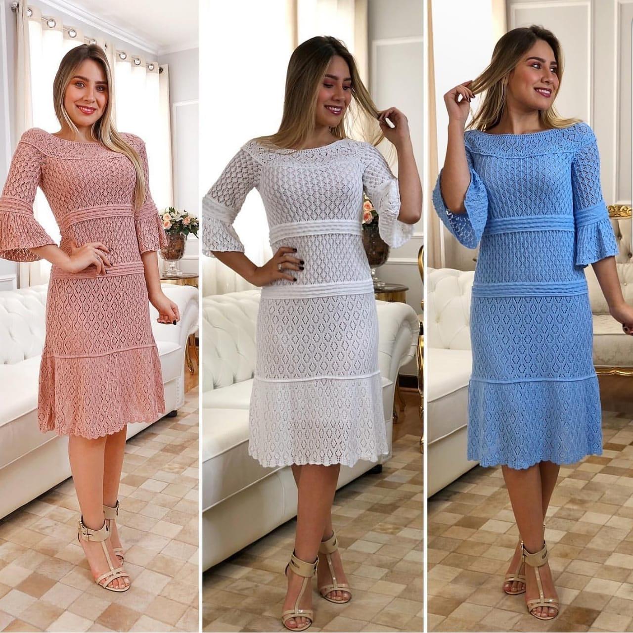 Vestido de Tricot Midi Plus Size Rosê