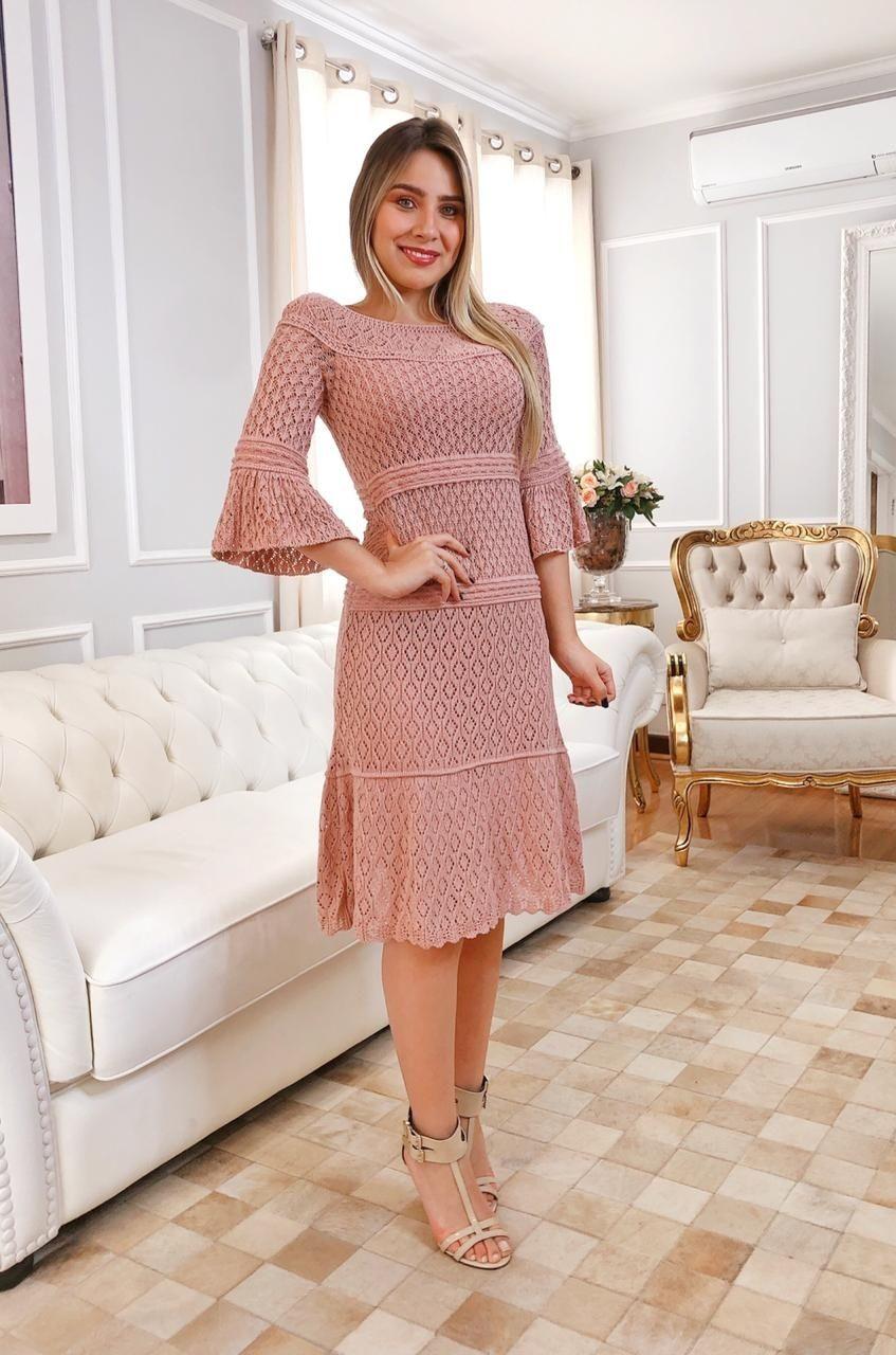 Vestido de Tricot Midi Rosê