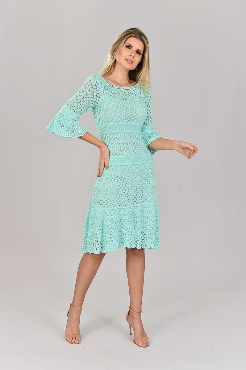 Vestido de Tricot Midi Verde Tiffany