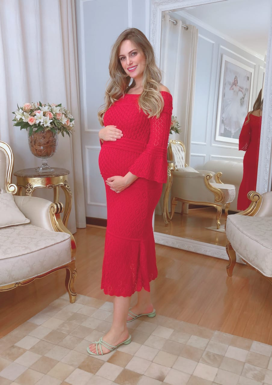 Vestido de Tricot Midi Vermelho