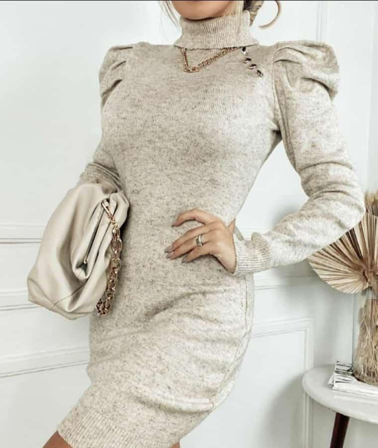 Vestido de Tricot Modal Curto Manga Longa Princesa