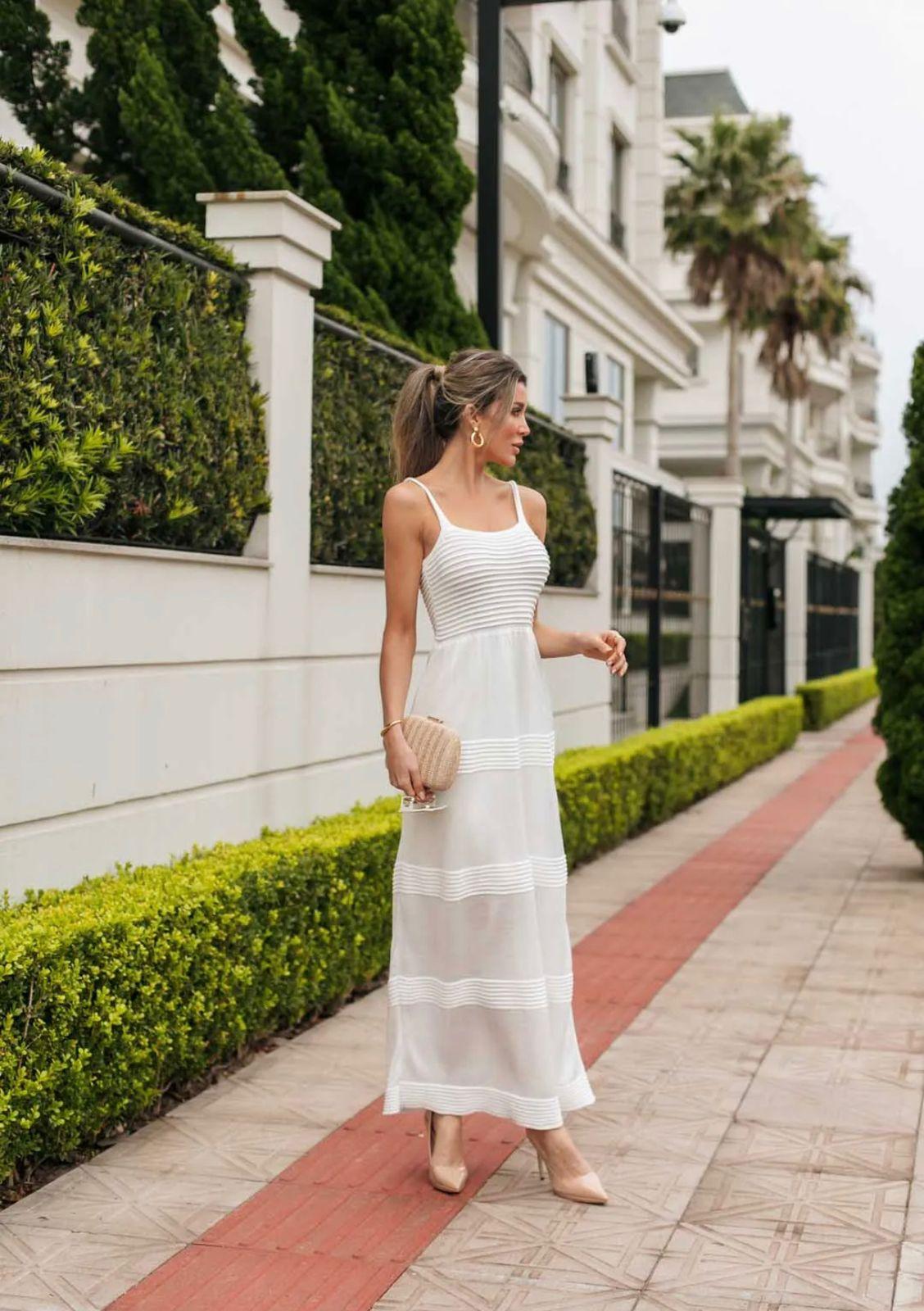 Vestido de Tricot Modal Longo de Alças Branco