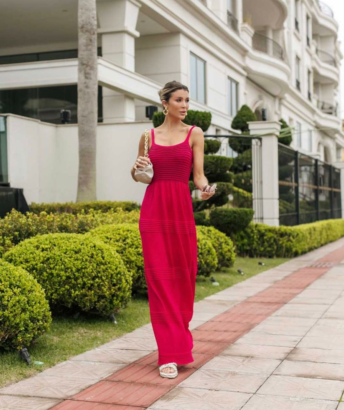 Vestido de Tricot Modal Longo de Alças Pink