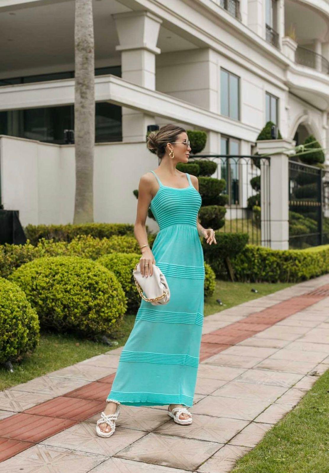 Vestido de Tricot Modal Longo de Alças Verde Tiffany