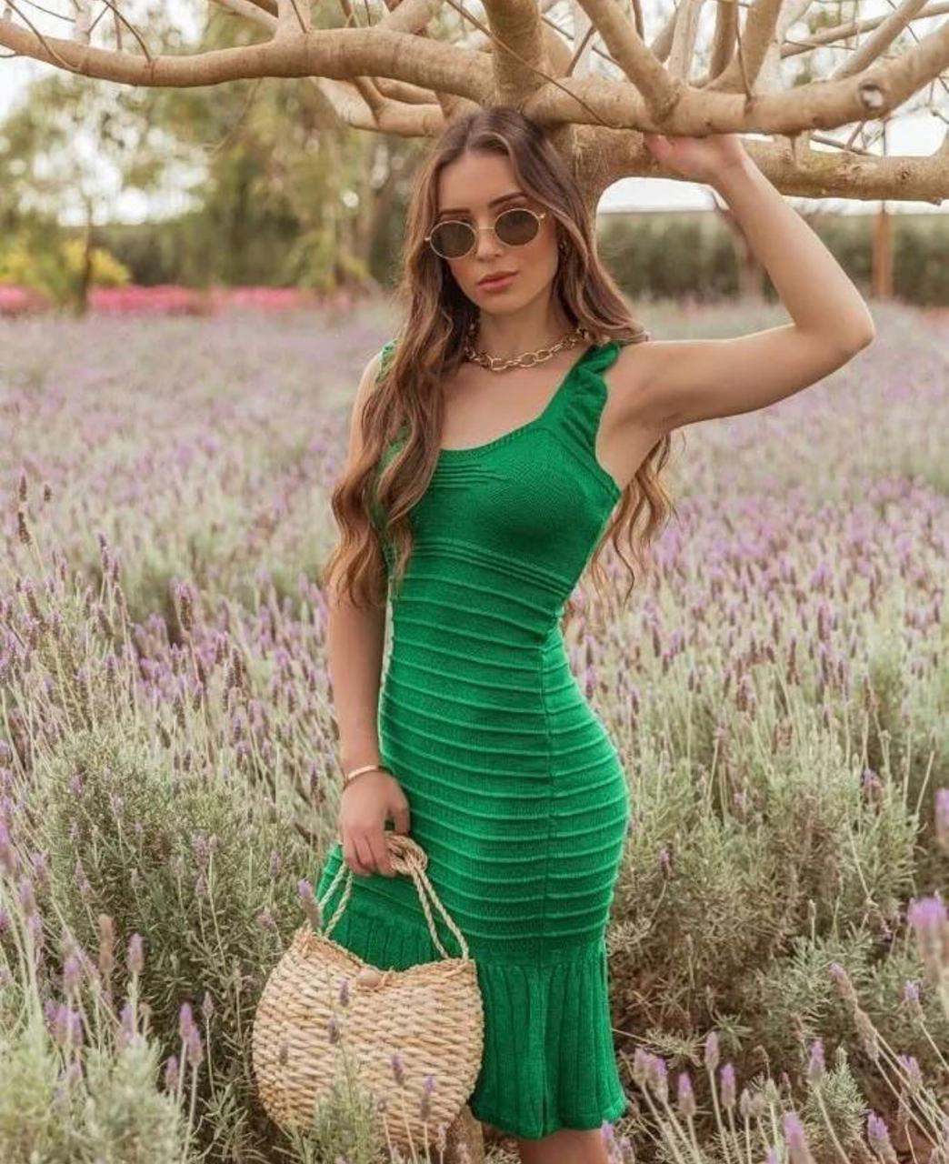 Vestido de Tricot Modal Verde de Alças