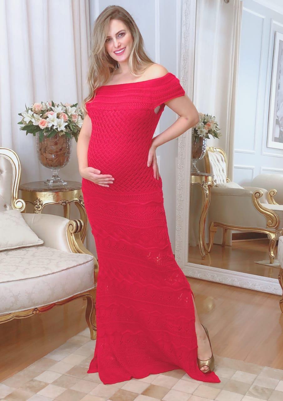 Vestido de Tricot Ombro a Ombro Vermelho