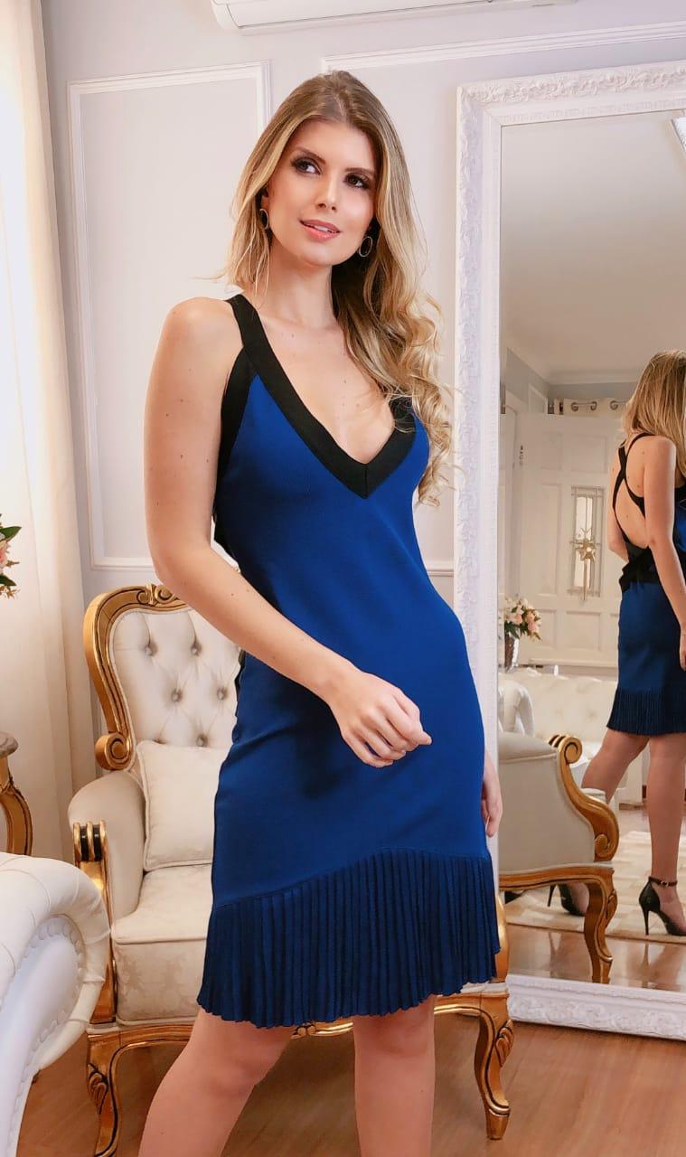 Vestido de Tricot Rayon Curto Azul Royal
